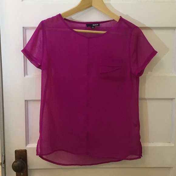 4/$25 - Pink sheer top w/pocket - size XS
